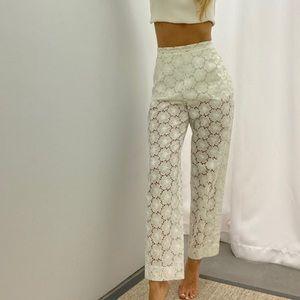 Authentic Chanel vintage white guipure lace pants